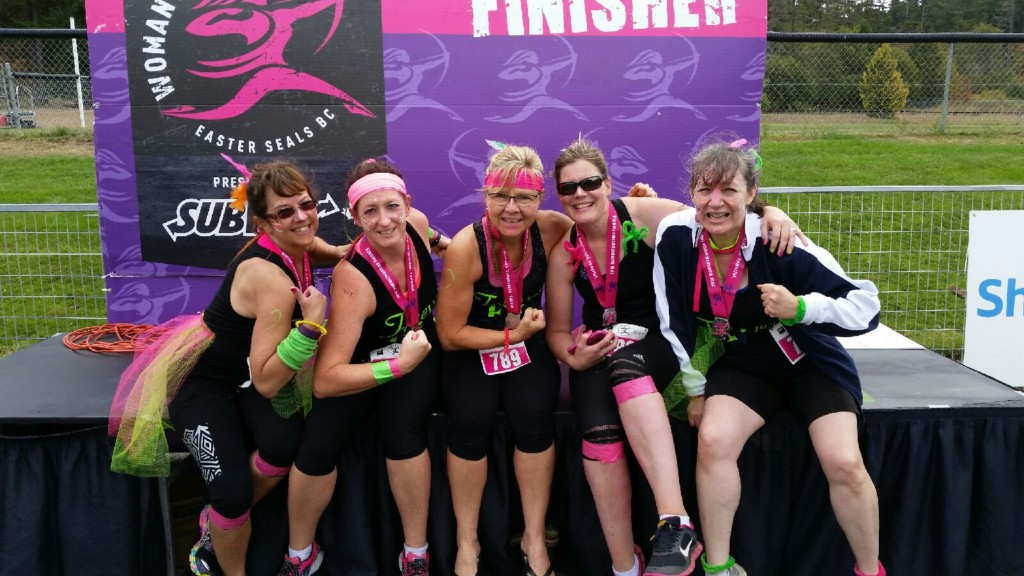 Here we are showing off our guns after the Woman2Warrior event. Forever Fit, Collwood, BC
