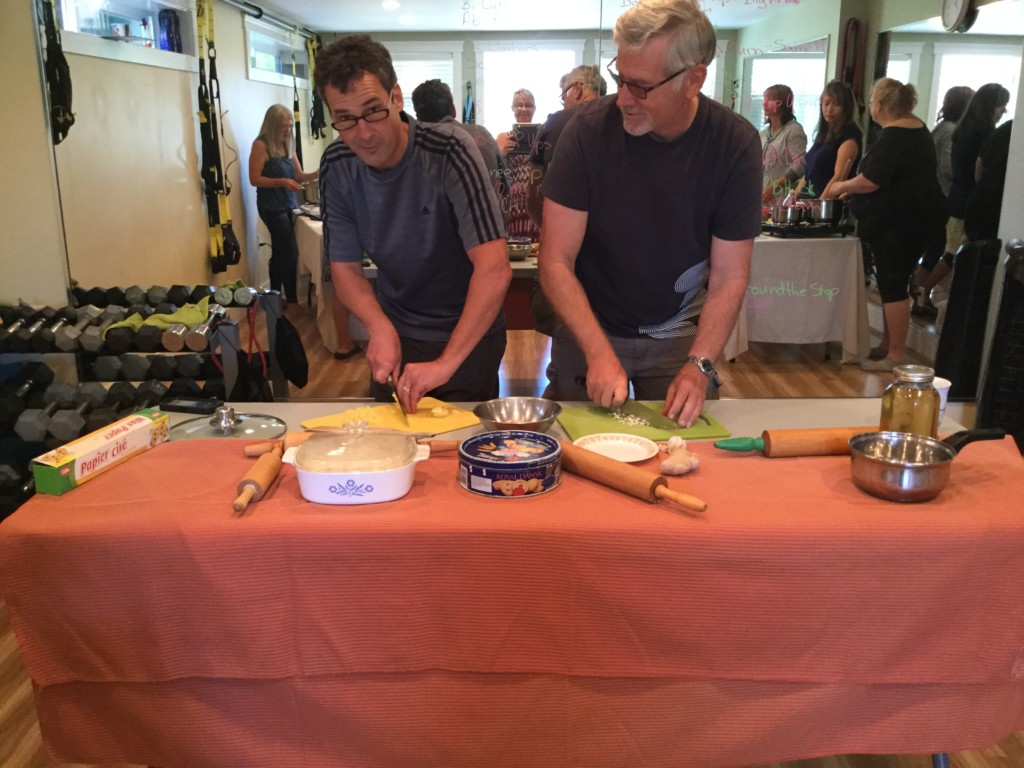 Indian Cooking, Ron and Brad doing their thing : ) Forever Fit, Duncan, BC