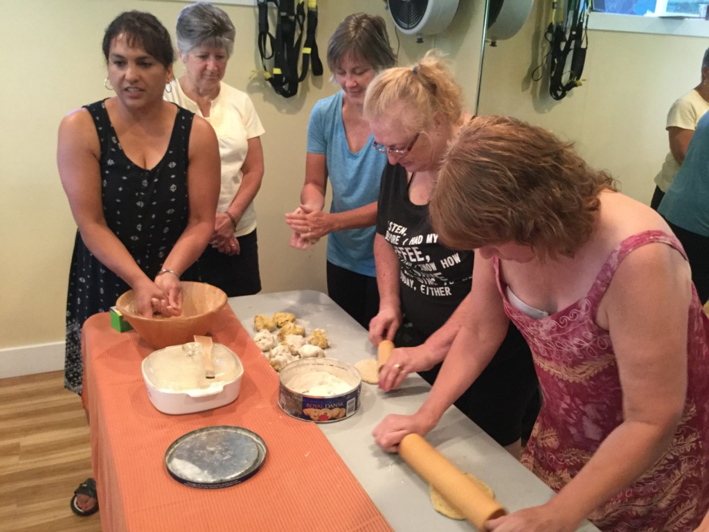 Updesh showing us how to prepare a dis in Indian Cooking workshop, Forever Fit, Duncan, BC