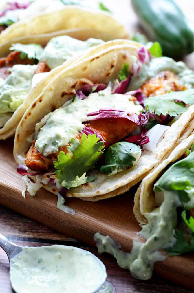 Blackened Fish Tacos with Avocado Cream Sauce