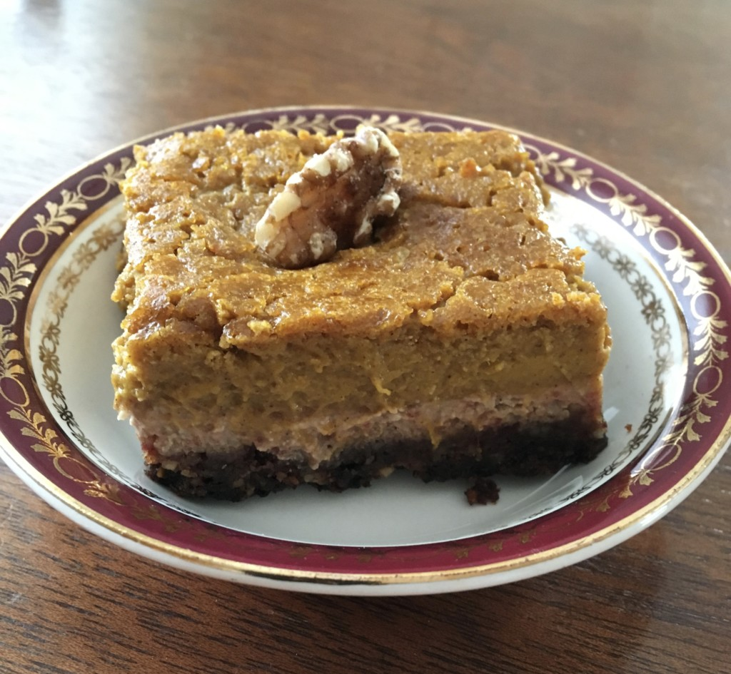 Pumpkin Pie Bars a walnut base, a healthy pumpkin centre, sweetened with dates and delicious maple syrup. Forever Fit, Duncan, BC