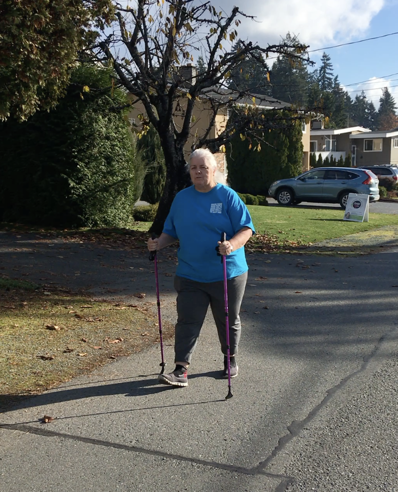 Patricia getting strong and fit, out pole walking, Forever Fit, Duncan, BC