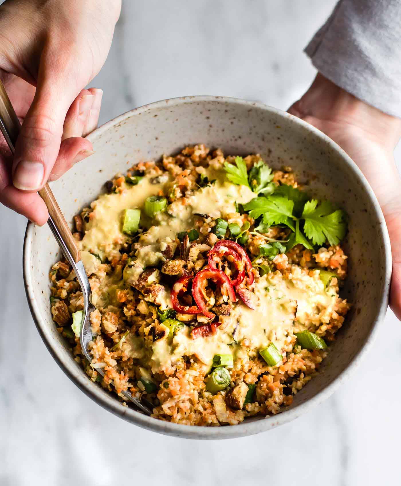 Soooo good, Thai Cauliflower Rice Salad with Creamy Avacado Dressing. Warm, healthy and delicious all in one bowl, Forever Fit, Duncan, BC