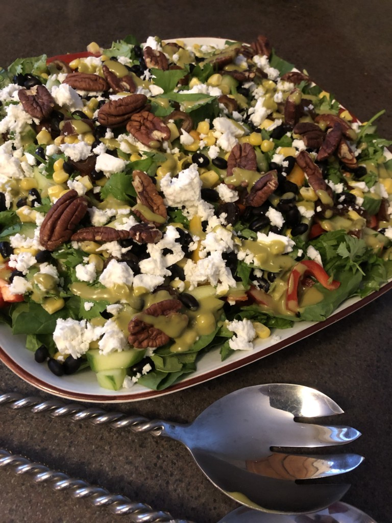 Inspired by the Earl's menu, this healthy salad recipe is easy and delicious Loaded with vegetables, a splash of black beans and corn then topped with a sweet and tangy peanut lime vinaigrette. Forever Fit, Duncan, BC.