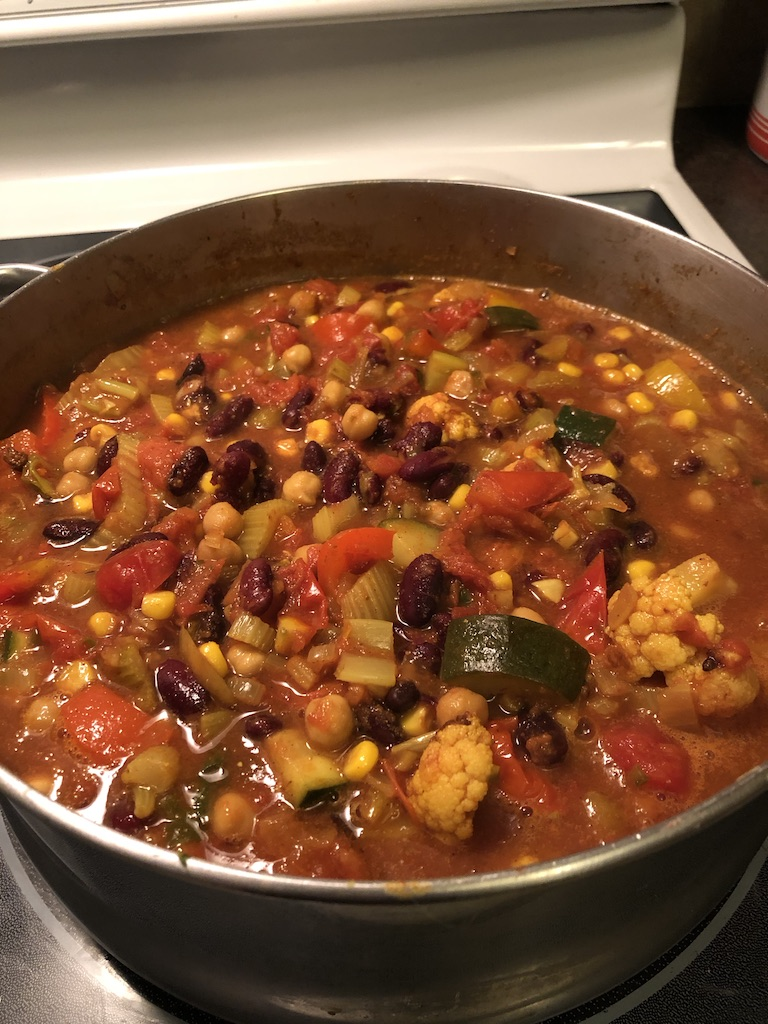 Awesome vegetarian Chilli. Perfect for cold winter days when you want dinner in a hurry. Forever Fit, Duncan, BC