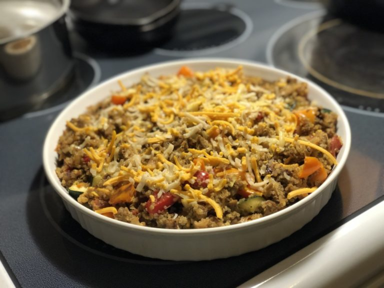One Pan Mexican Quinoa Dinner is easy and delicious. All those taco flavors in one pan. Delicious! Forever Fit, Nancy
